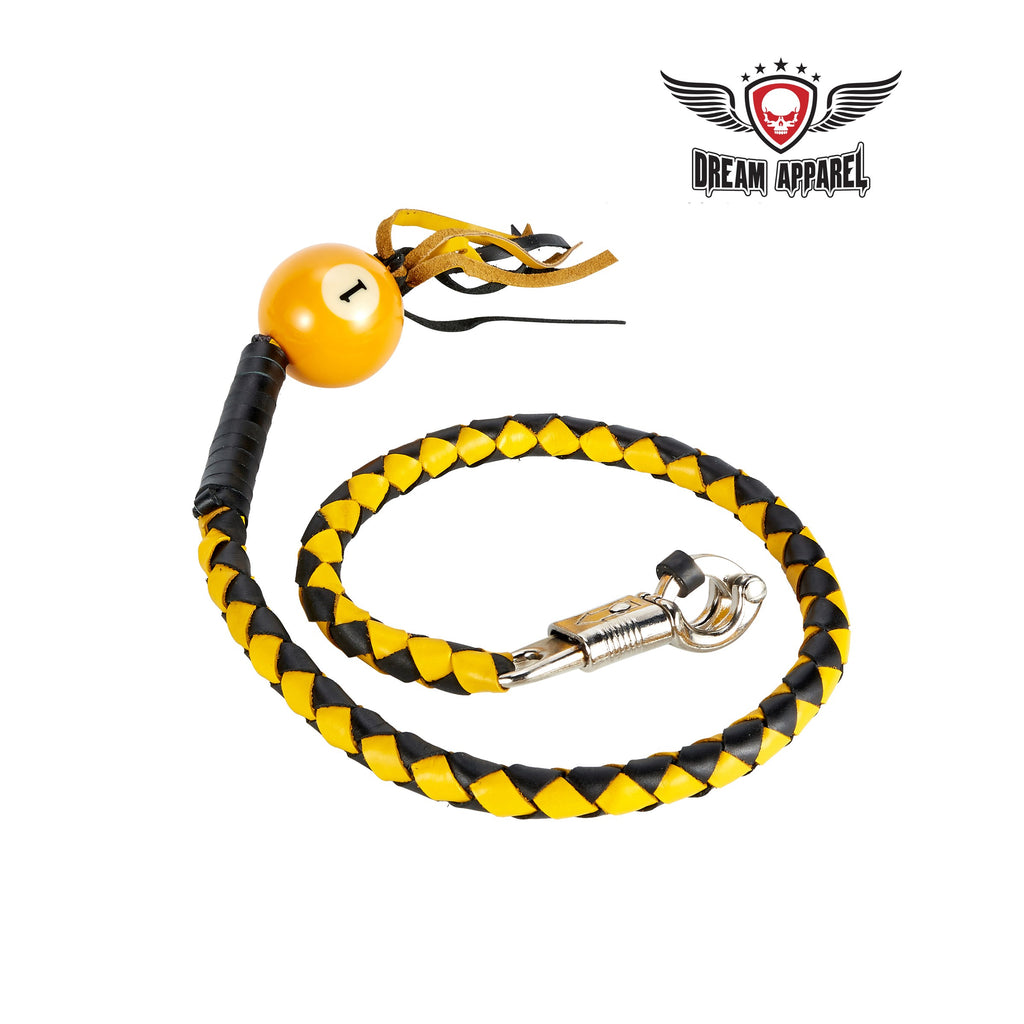 Black And Yellow Fringed Get Back Whip W/ Pool Ball