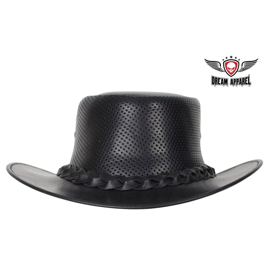 886188a6675 Genuine Black Naked Cowhide Leather Gambler Hat – B S Motorcycle ...