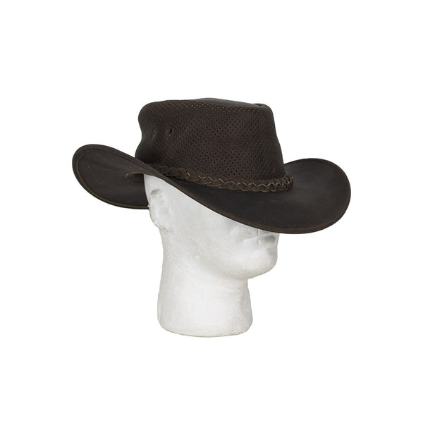 Genuine Brown Leather Gambler Hat