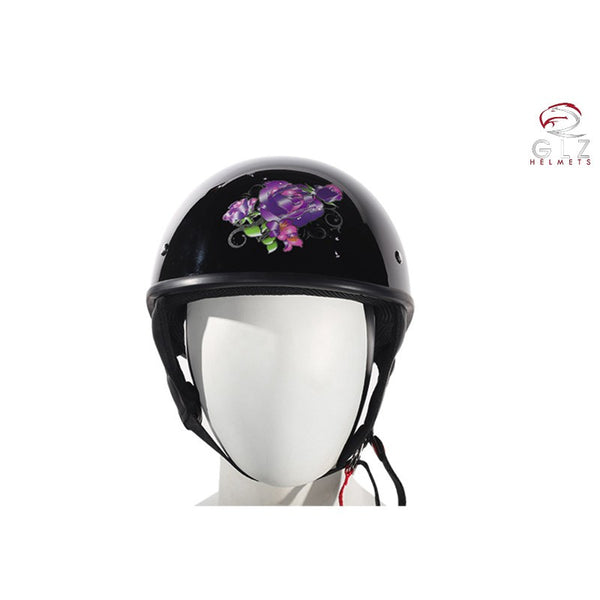Womens DOT Approved Shiny Black Motorcycle Helmet With Purple Rose Design