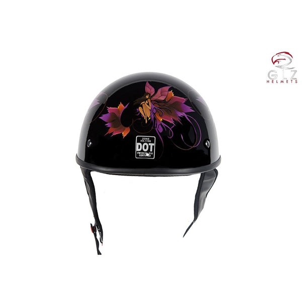DOT Approved Low Profile Motorcycle Helmet With Fairy & Tribal Flowers