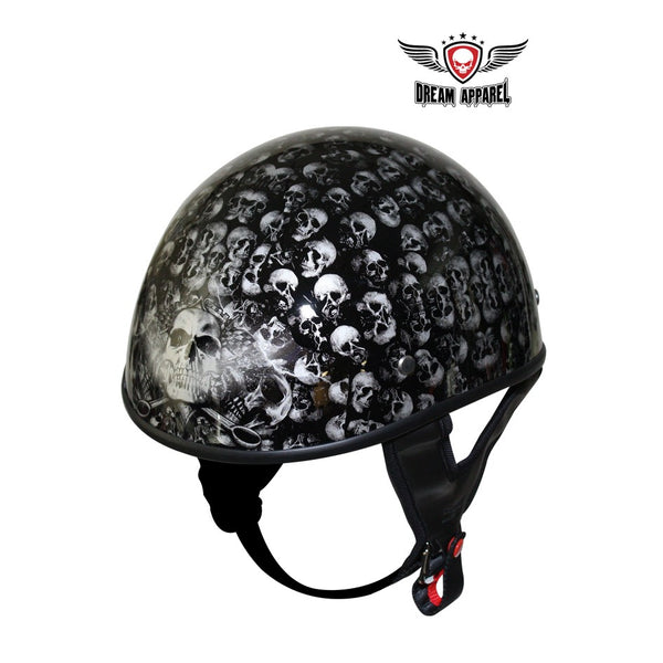 DOT Approved Low Profile Motorcycle Helmet With Black Finish & Skull Graphics