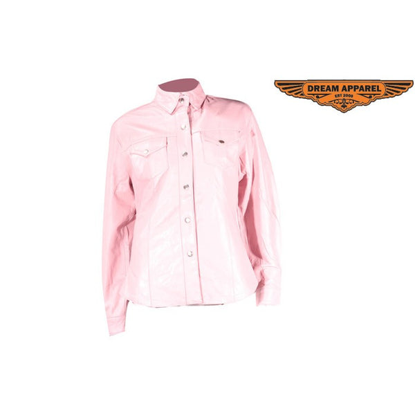 Womens Leather Pink Shirt With Snaps Lining