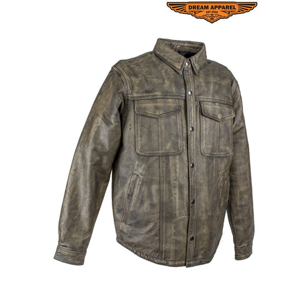 Men's Distressed Brown Leather Motorcycle Shirt With Concealed Carry