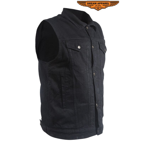 Black Denim Gun Pocket Vest