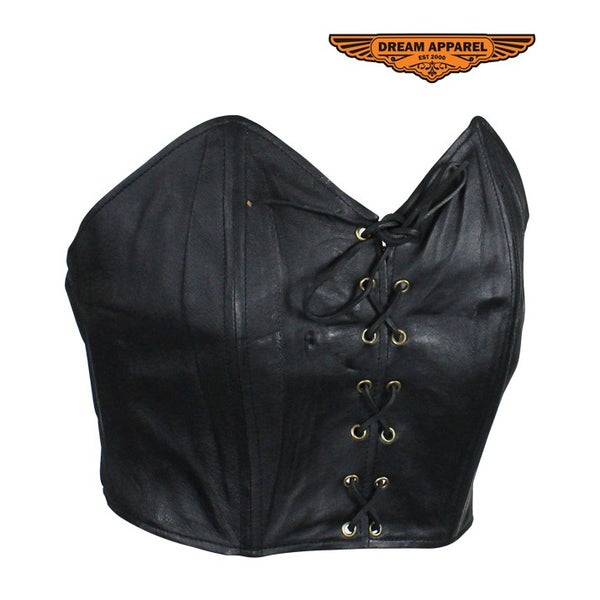 Ladies Black Leather Laced Blouse
