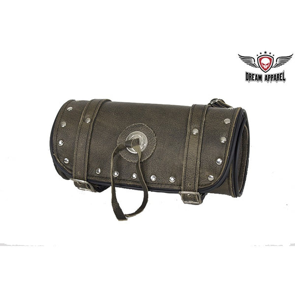 Studded Brown Leather Motorcycle Tool Bag