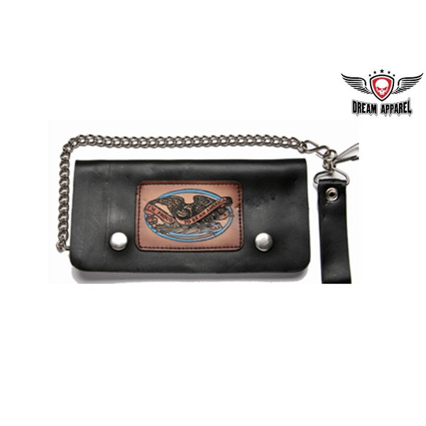 Leather Wallet With Live To Ride, Ride To Live