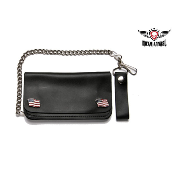 Leather Wallet With USA Flag Snaps