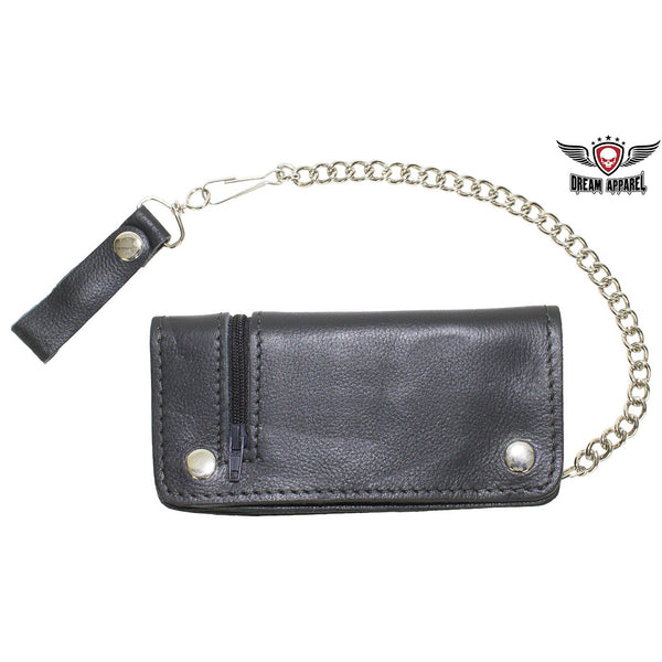 Black Leather Chain Wallet with Zipper