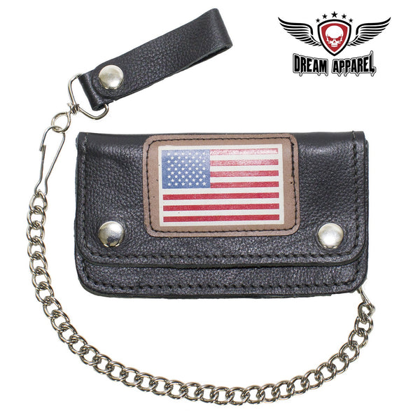 Leather Chain Wallet W/ USA Flag