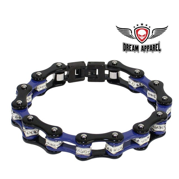 Black And Blue Squared Motorcycle Bracelet With Clear Gemstones