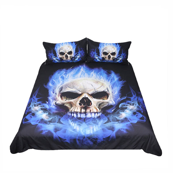Flame Skull Bedding Set King 3D Printed Duvet Cover Blue Fire Bedclothes 3pcs Home Textiles For Boys