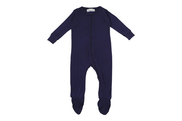 navy blue bamboo footed pajamas