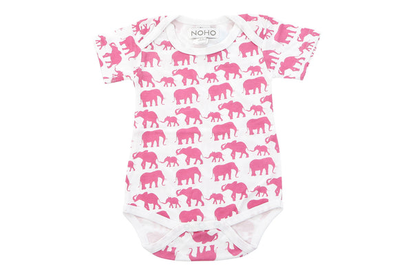 short sleeve onesie in pink elephant
