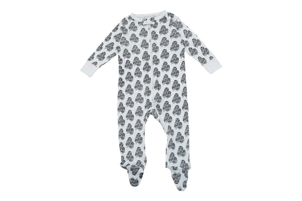 bamboo footed baby pajamas grey owl