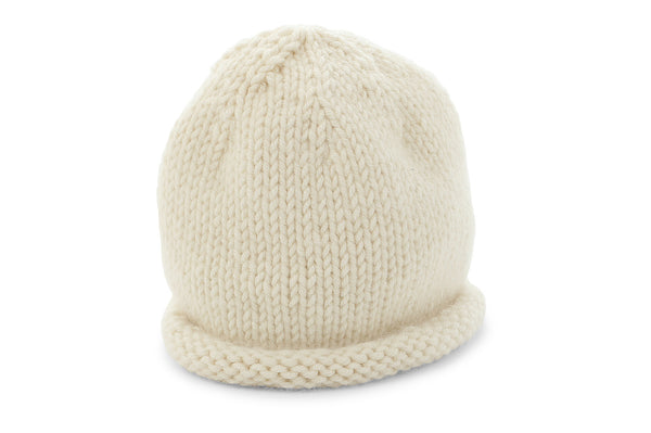 hand knit cashmere hat in ivory