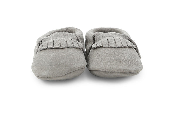 leather moccasins in grey suede