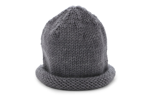 hand knit cashmere hat in sterling