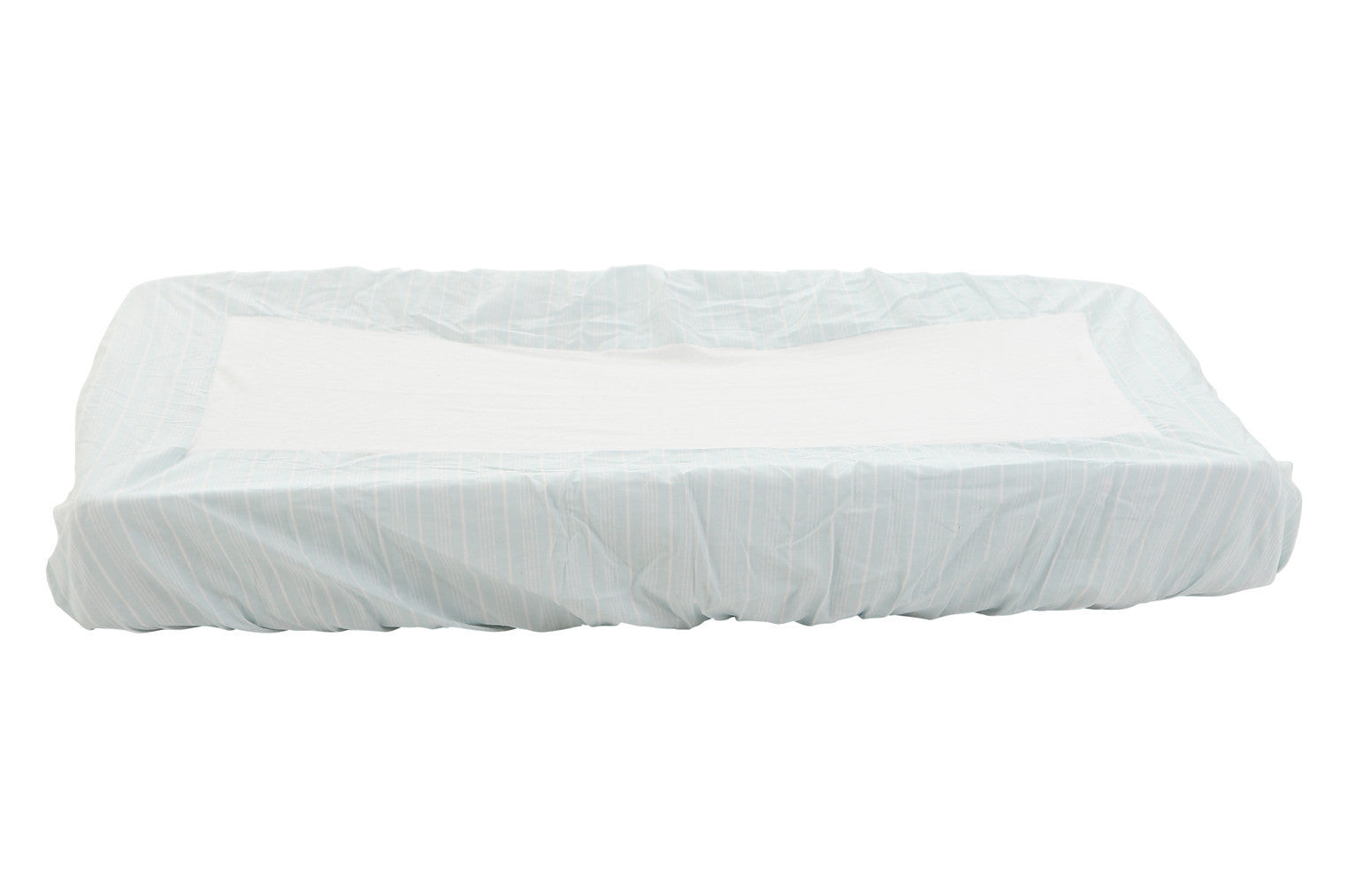 light blue striped change table cover