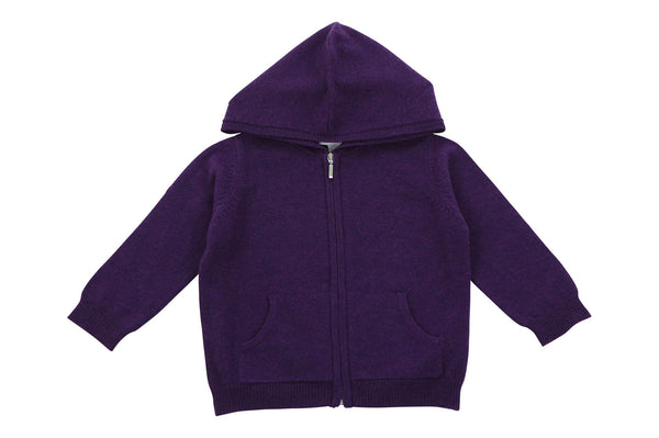 purple cashmere baby hoodie