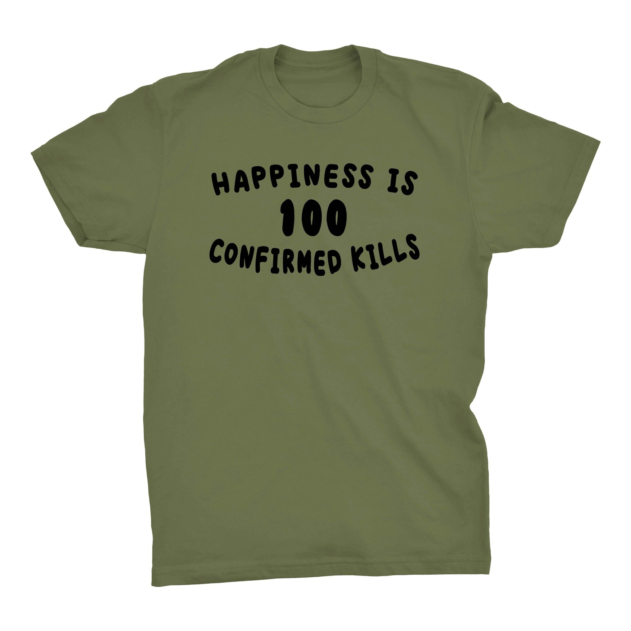 Happiness is 100 Confirmed Kills - Military Green - T-Shirts - Pipe Hitters Union