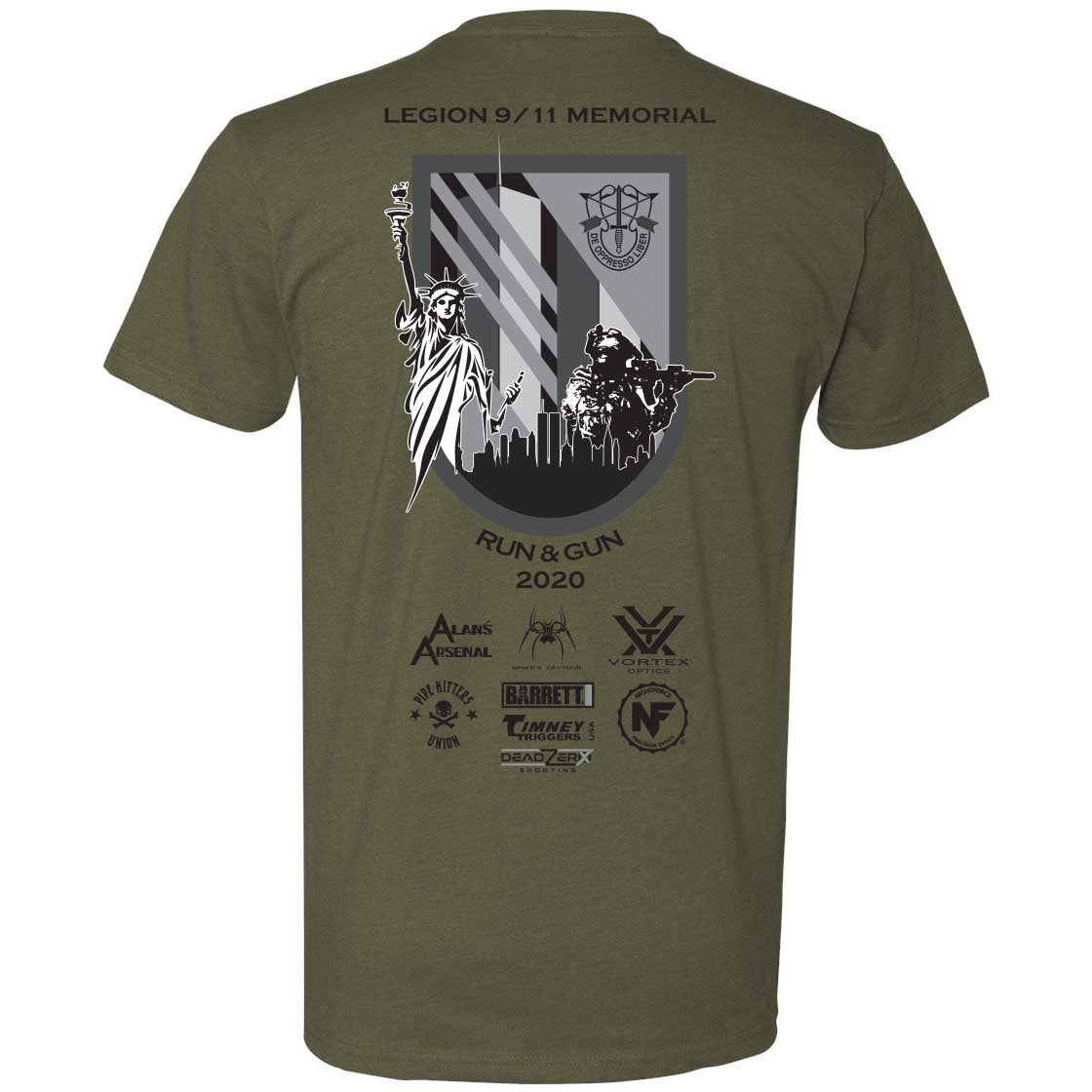 Legion 9/11 Memorial Run & Gun - Military Green - T-Shirts - Pipe Hitters Union
