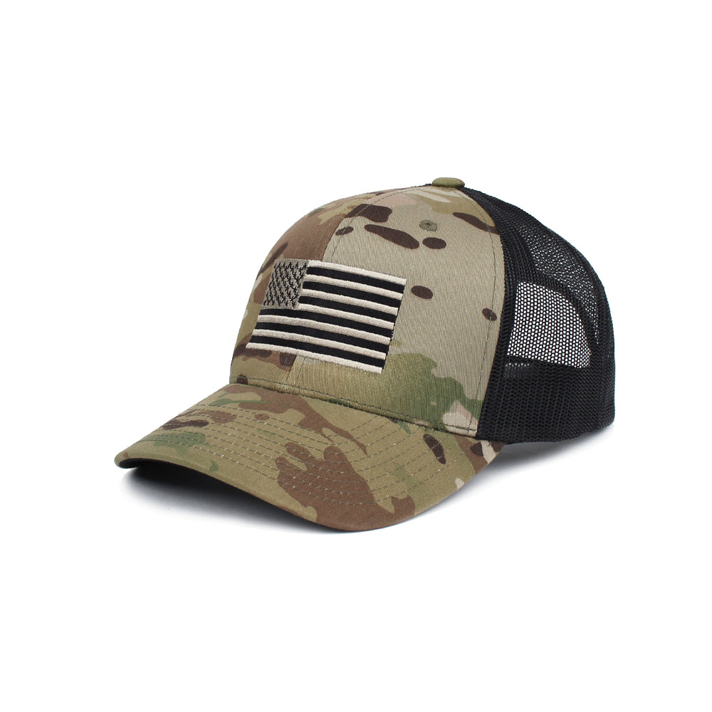 American Flag Trucker - GreenMultiCam/Black - Hats - Pipe Hitters Union