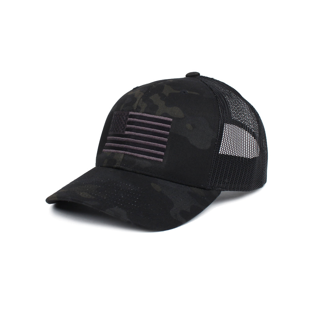 American Flag Trucker - BlackMultiCam/Black - Hats - Pipe Hitters Union