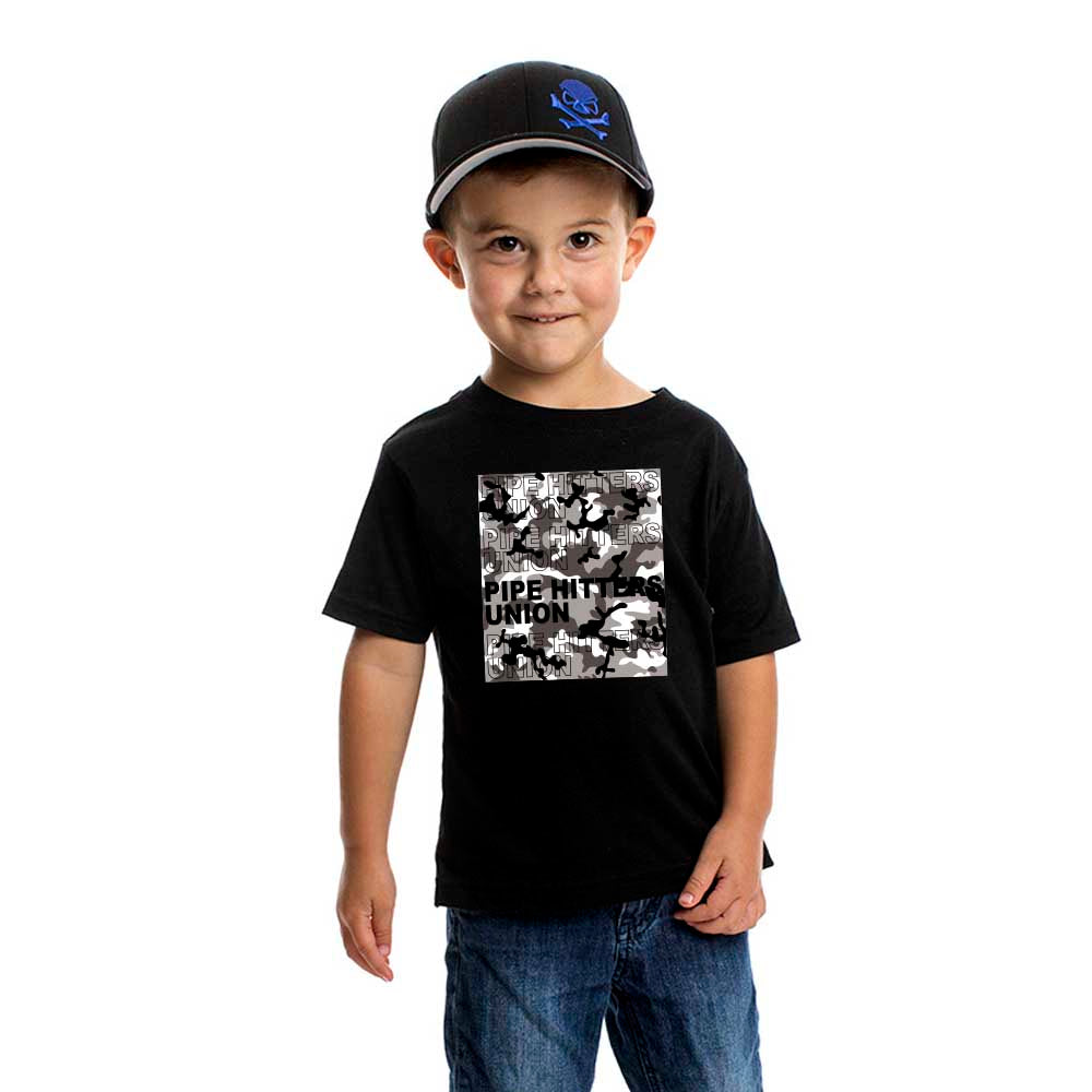 Pipe Hitter Pattern Analysis - Youth - Black/Arctic Woodland Camo - T-Shirts - Pipe Hitters Union