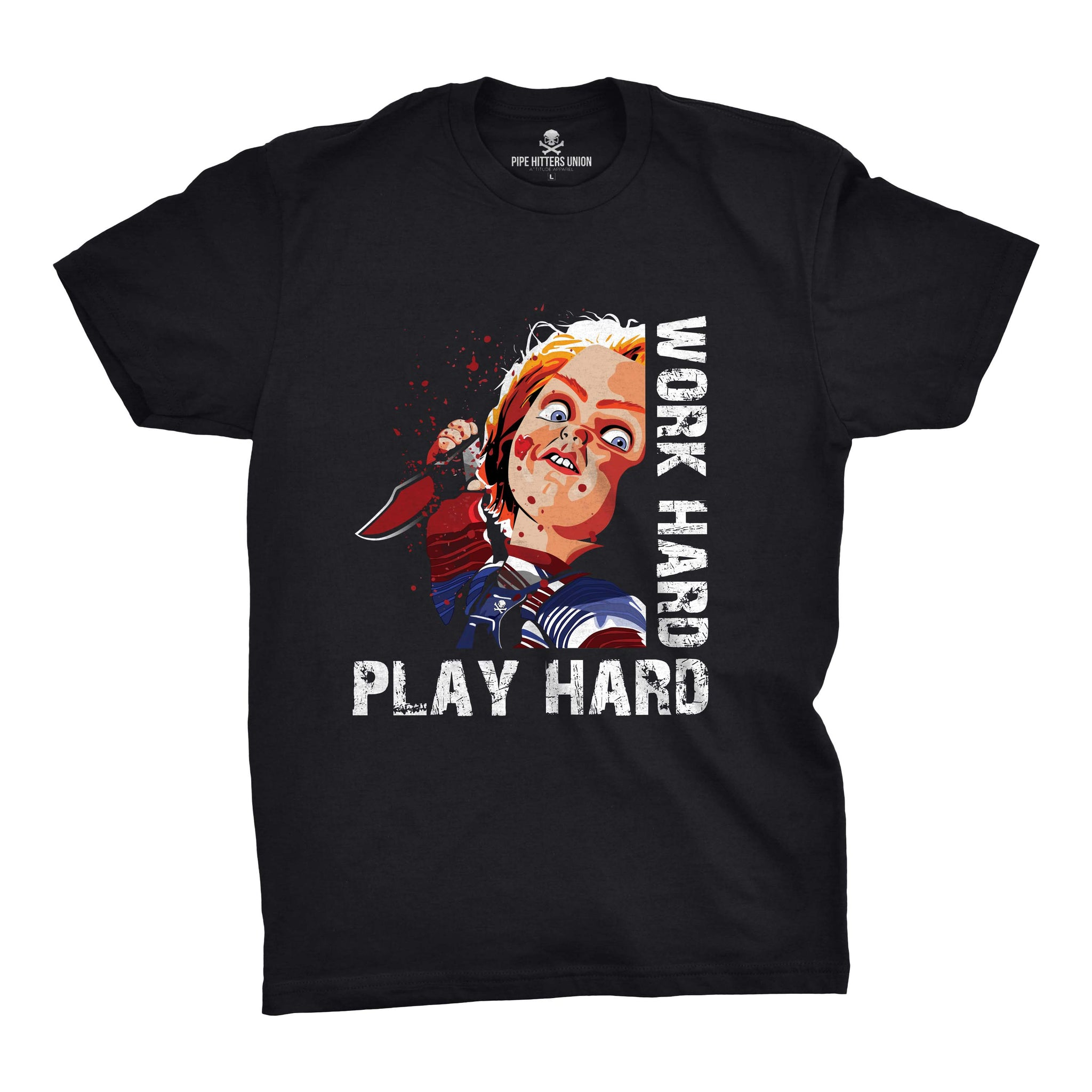 Work Hard - Play Hard - Black - T-Shirts - Pipe Hitters Union
