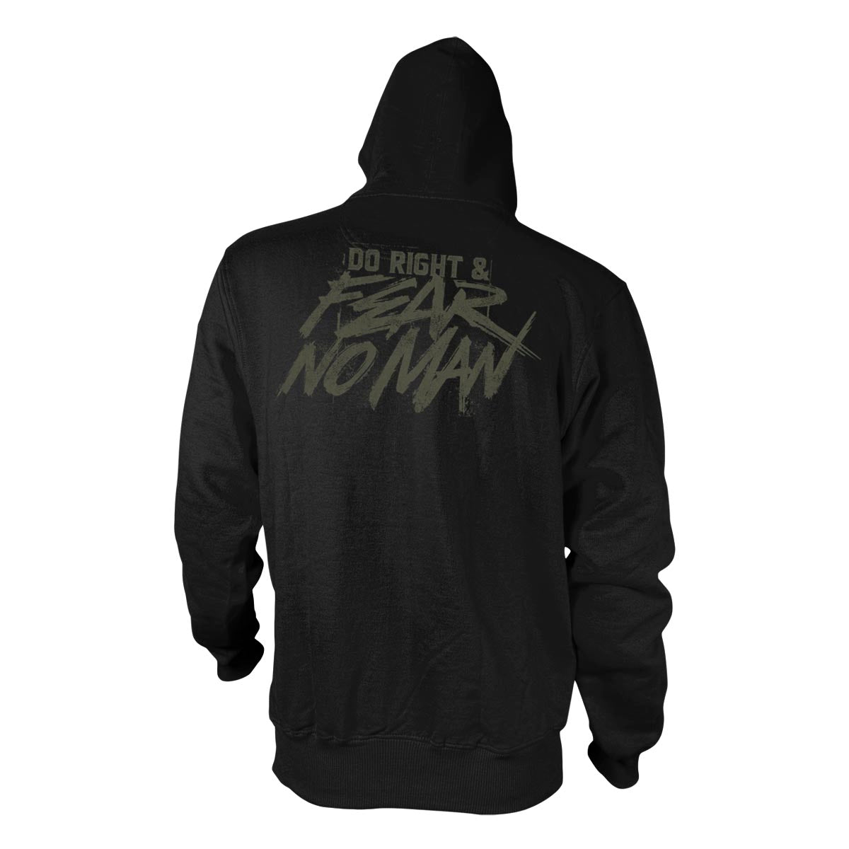 Do Right And Fear No Man - Hoodie - Black/Dark Olive - Hoodies - Pipe Hitters Union