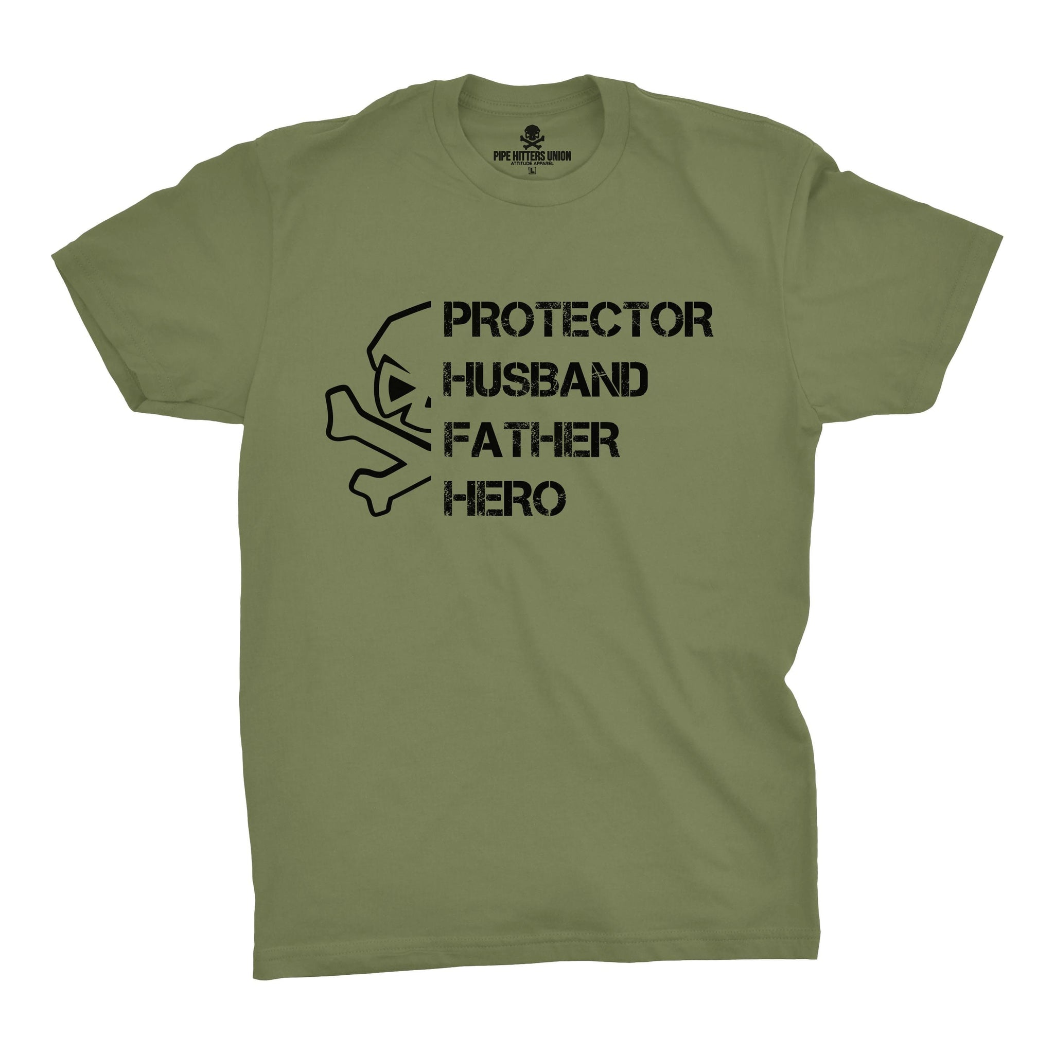 PHFH Skull (Husband) - Military Green - T-Shirts - Pipe Hitters Union
