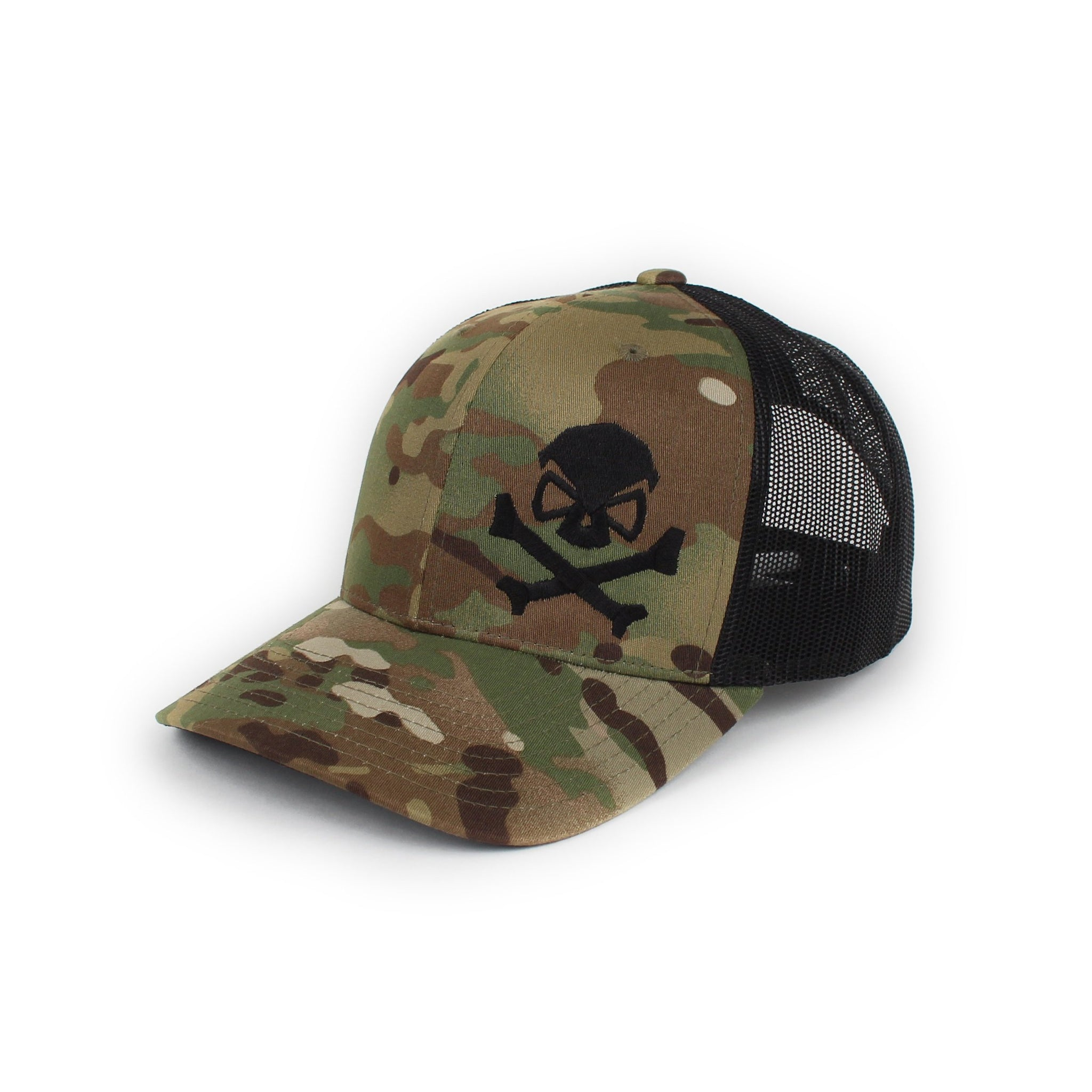 Skull & Bones Trucker - GreenMultiCam/Black - Hats - Pipe Hitters Union