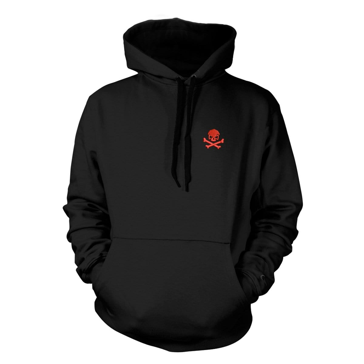 Skull & Bones Hoodie (Embroidered) - Black/Red - Hoodies - Pipe Hitters Union
