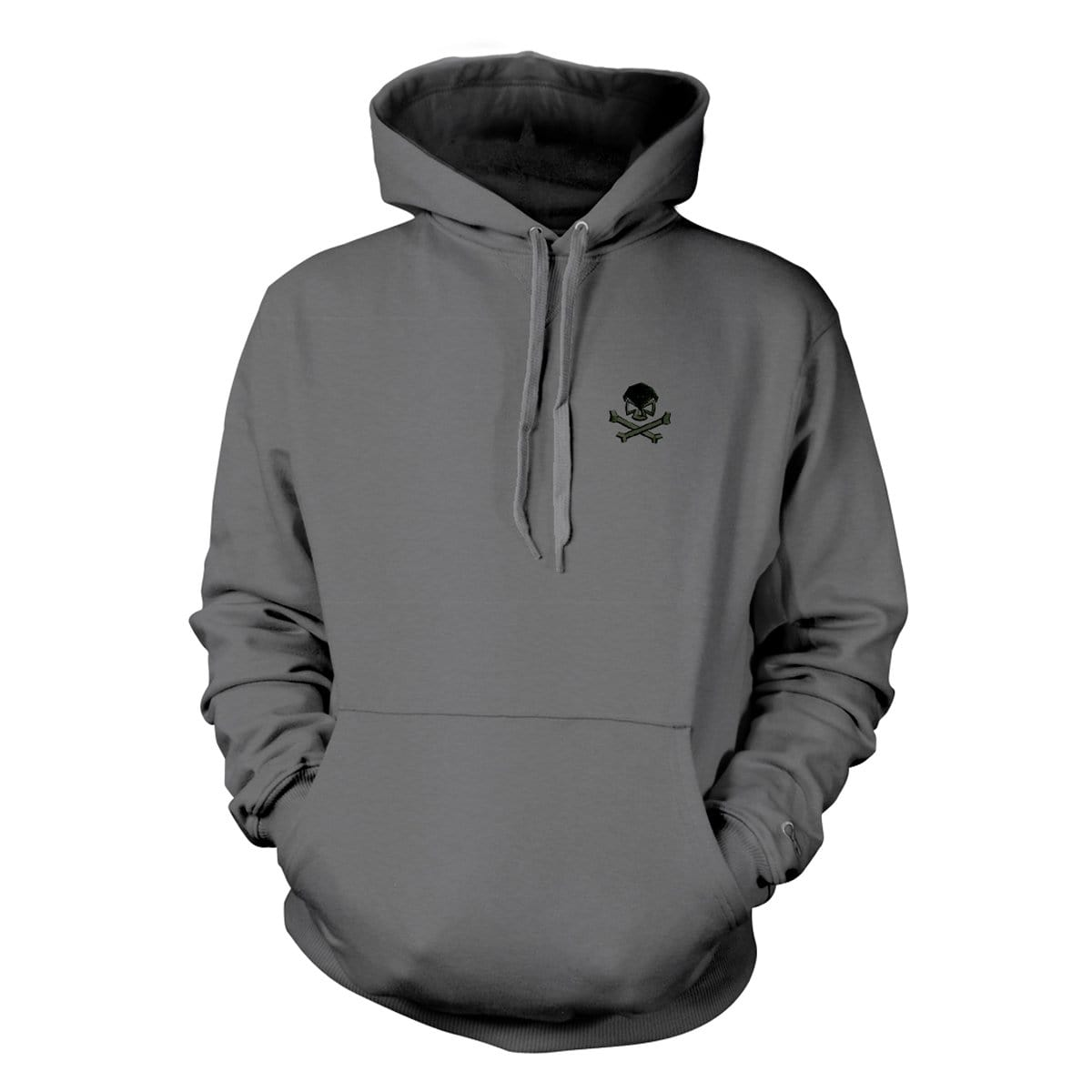 Skull & Bones Hoodie (Embroidered) - Grey/Black - Hoodies - Pipe Hitters Union