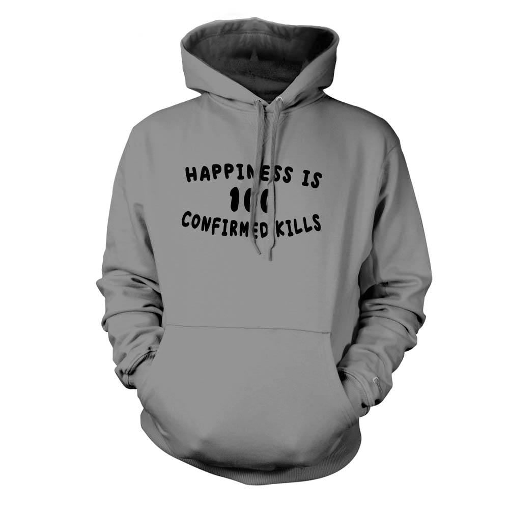 Happiness is 100 Confirmed Kills Hoodie - Grey - Hoodies - Pipe Hitters Union