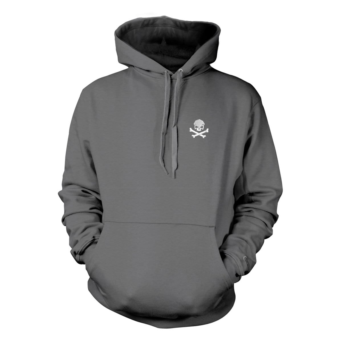 Skull & Bones Hoodie (Embroidered) - Grey/White - Hoodies - Pipe Hitters Union