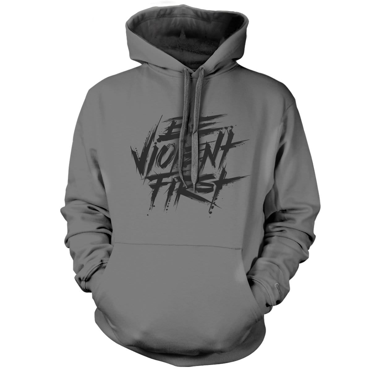 Be Violent First Hoodie - Grey/Black - Hoodies - Pipe Hitters Union