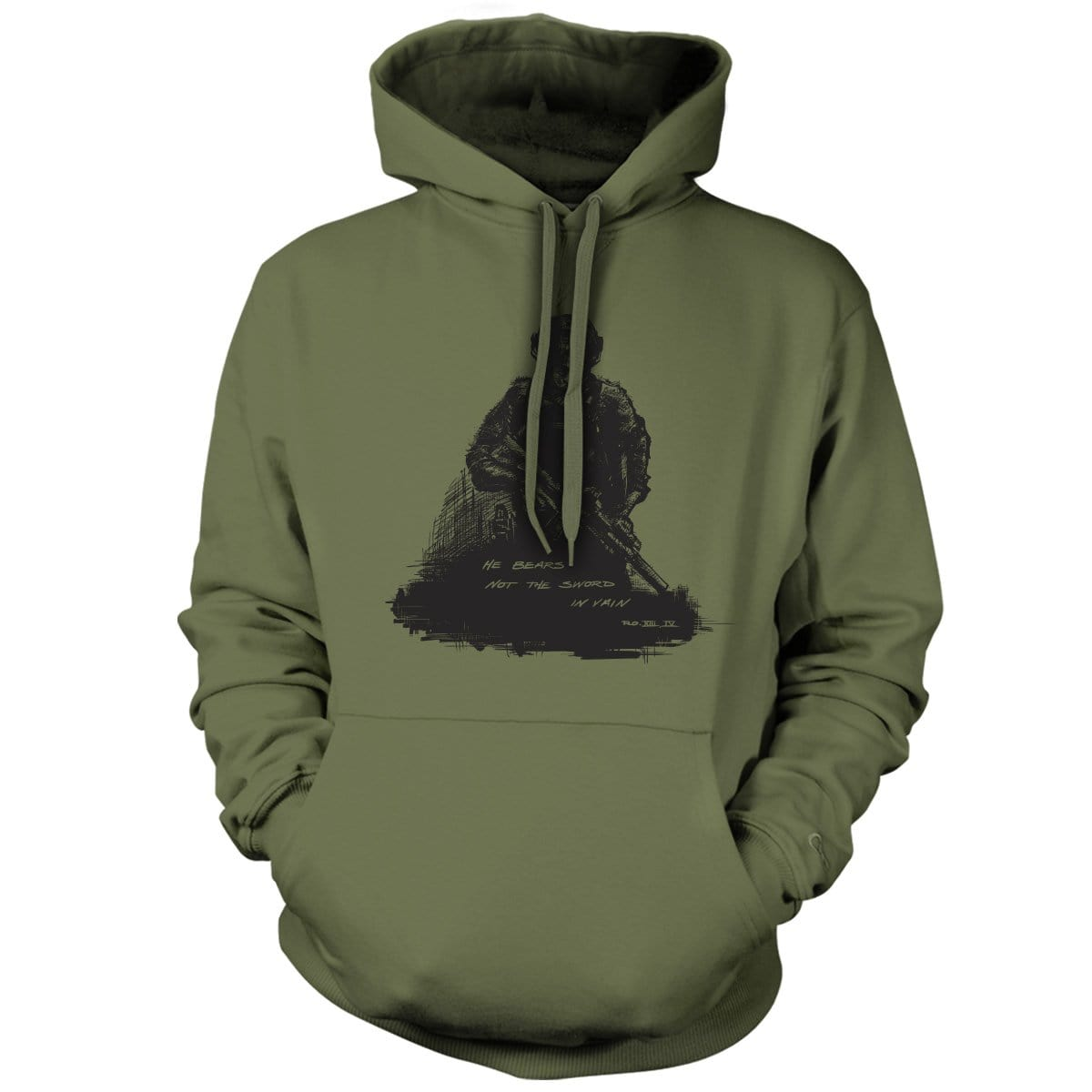 Romans 13:4 Hoodie - Military Green - Hoodies - Pipe Hitters Union