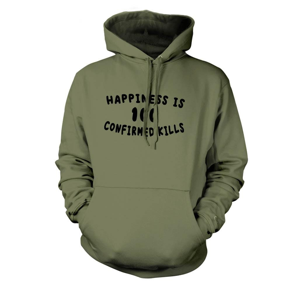 Happiness is 100 Confirmed Kills Hoodie - Military Green - Hoodies - Pipe Hitters Union
