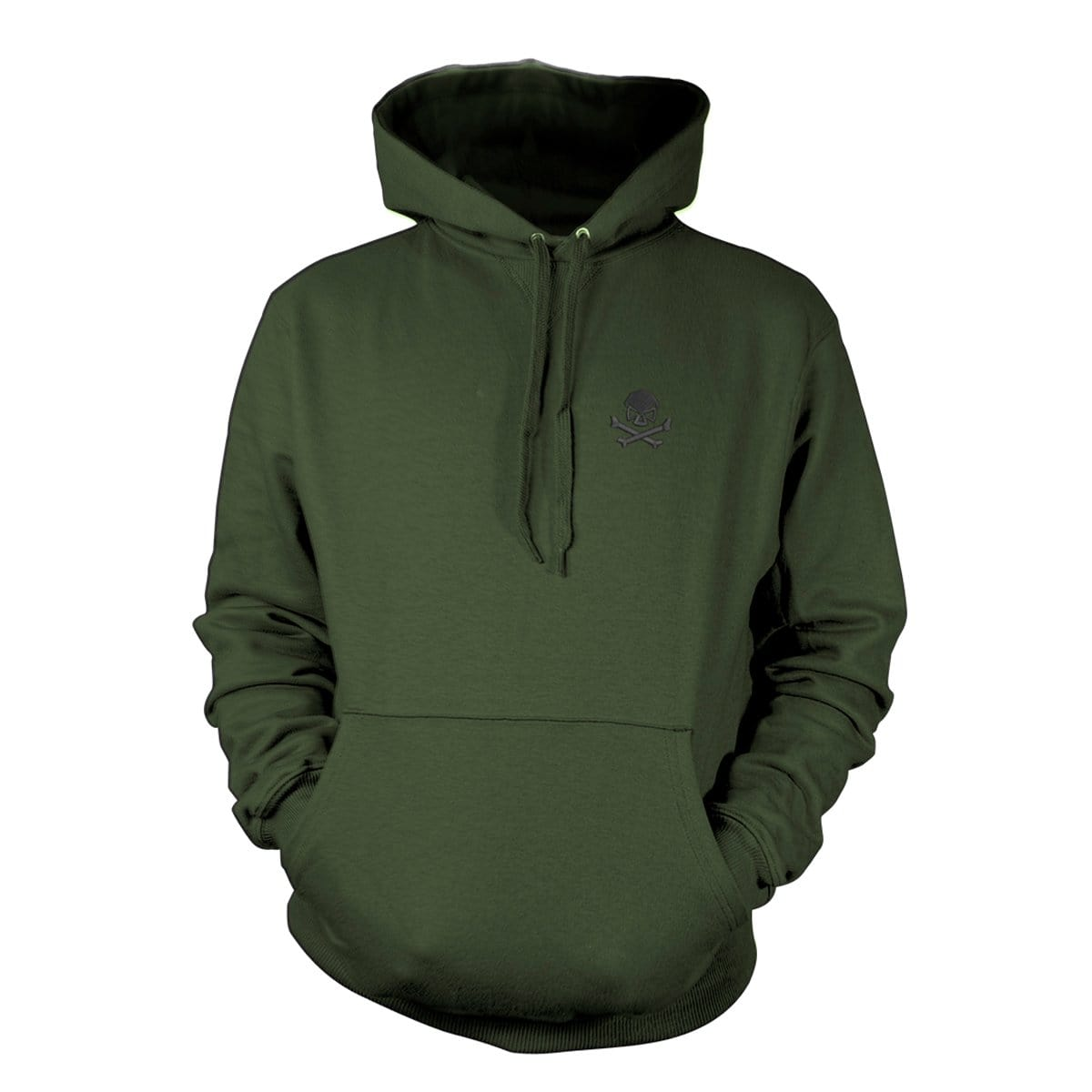 Skull & Bones Hoodie (Embroidered) - Military Green/Black - Hoodies - Pipe Hitters Union
