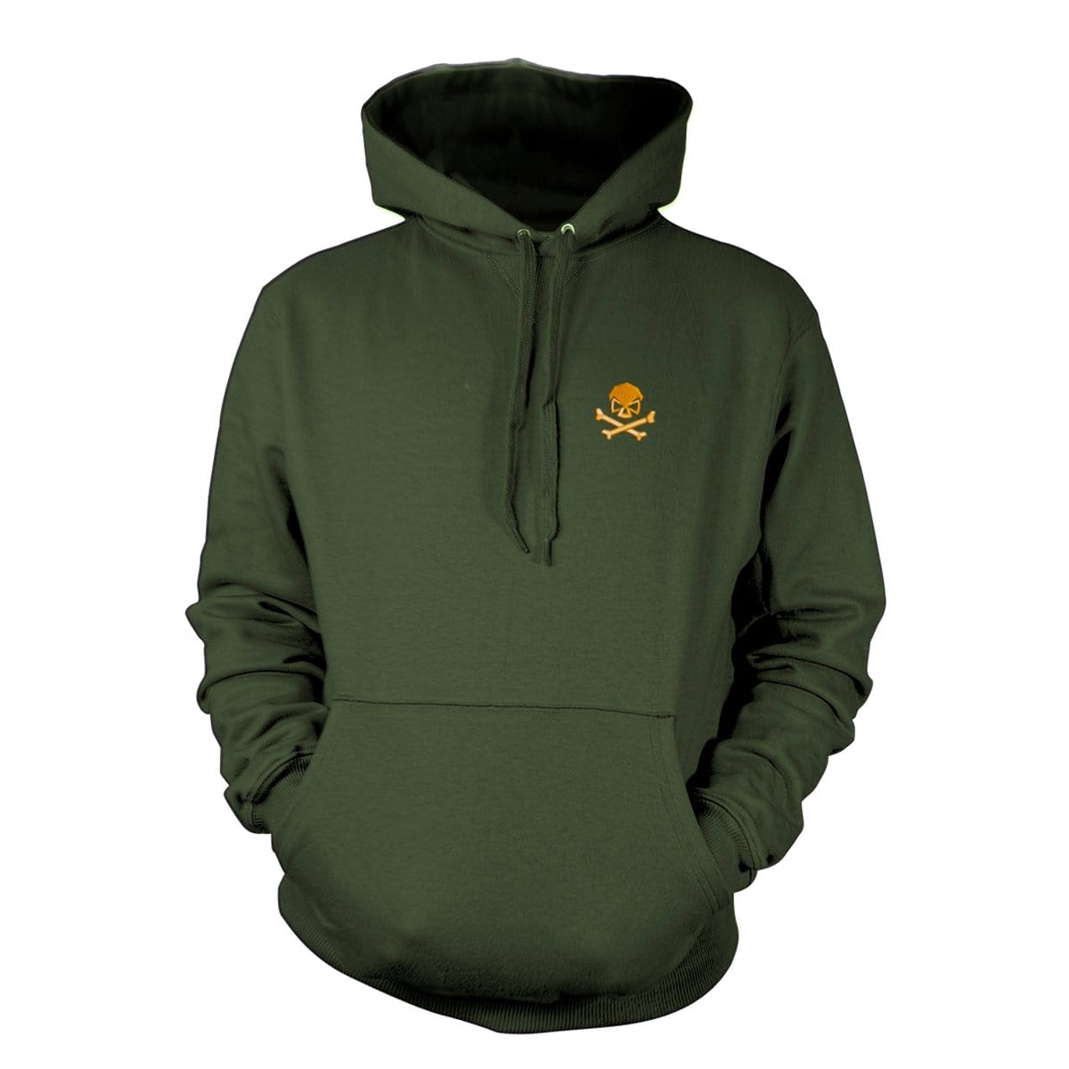 Skull & Bones Hoodie (Embroidered) - Military Green/Orange - Hoodies - Pipe Hitters Union
