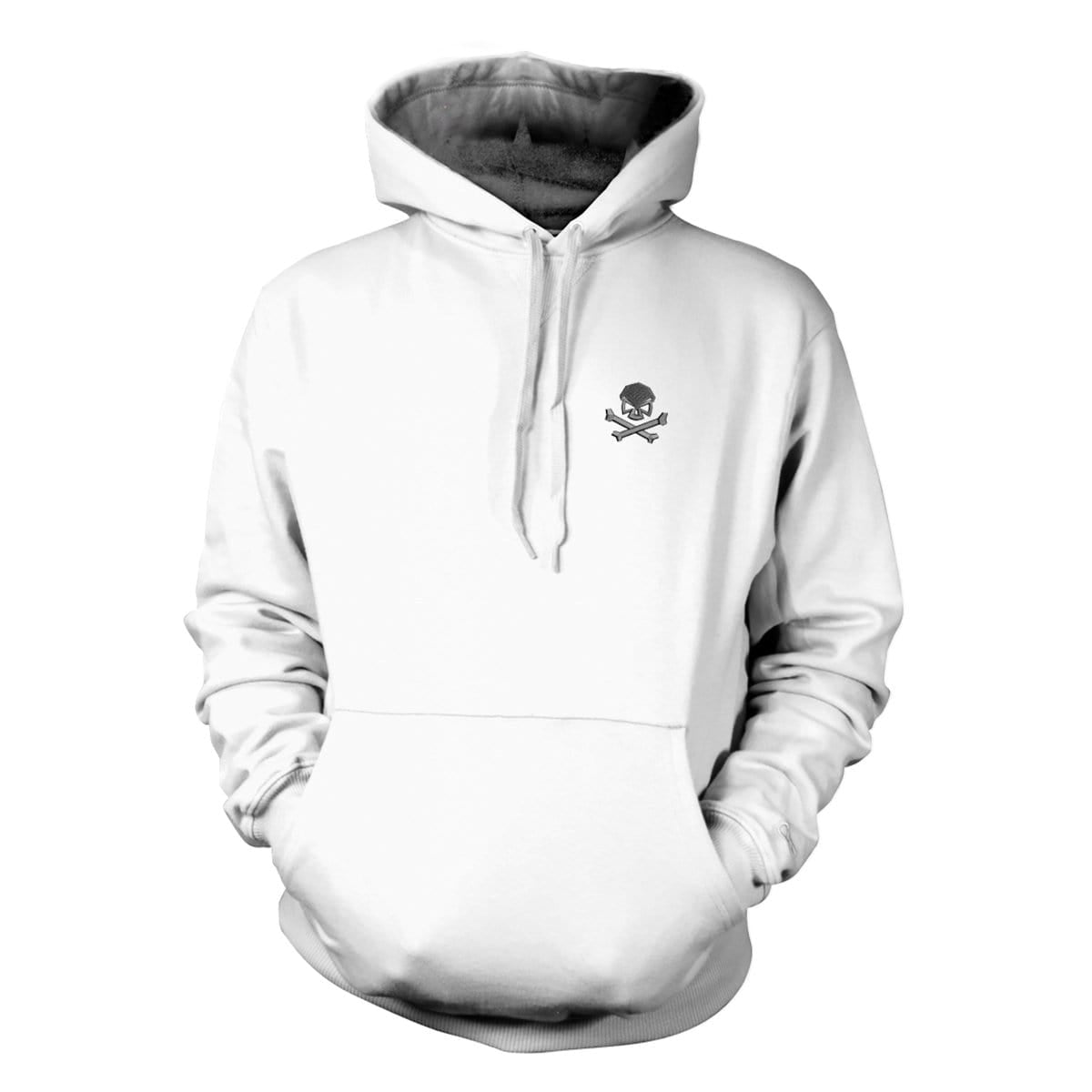 Skull & Bones Hoodie (Embroidered) - White/Black - Hoodies - Pipe Hitters Union