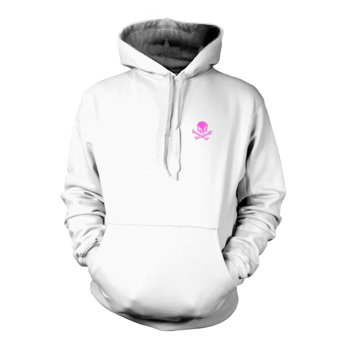 Skull & Bones Hoodie (Embroidered) - White/Pink - Hoodies - Pipe Hitters Union