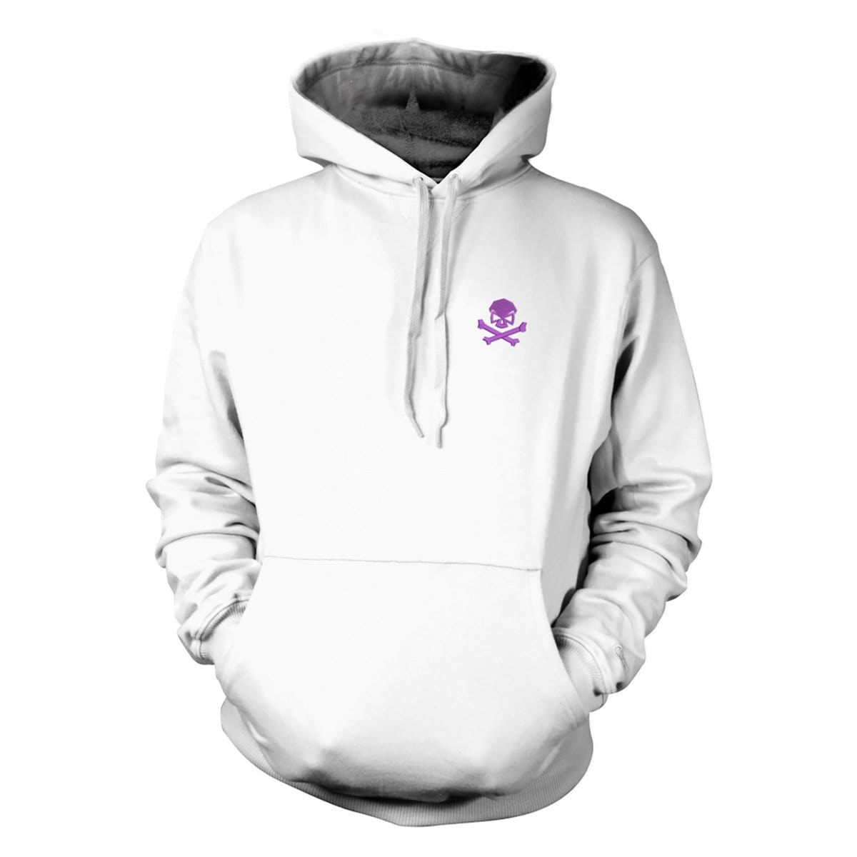 Skull & Bones Hoodie (Embroidered) - White/Purple - Hoodies - Pipe Hitters Union
