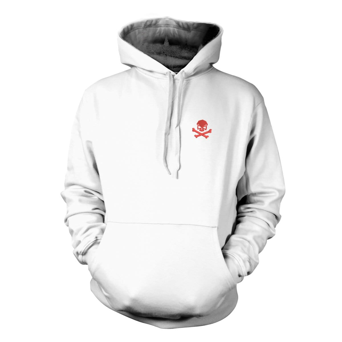 Skull & Bones Hoodie (Embroidered) - White/Red - Hoodies - Pipe Hitters Union