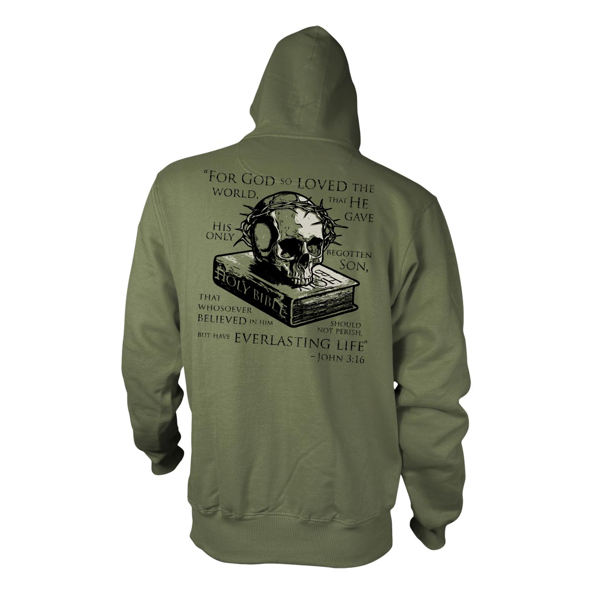 John 3:16 - Hoodie - Military Green - T-Shirts - Pipe Hitters Union