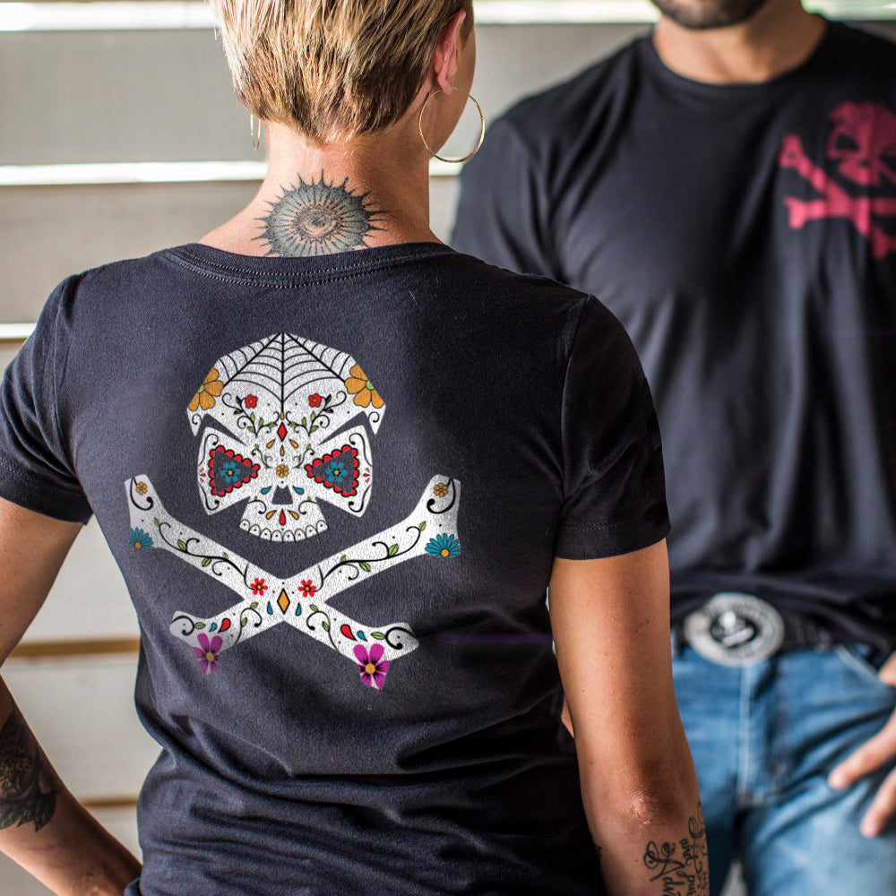 Sugar Skull V-Neck - Black - T-Shirts - Pipe Hitters Union