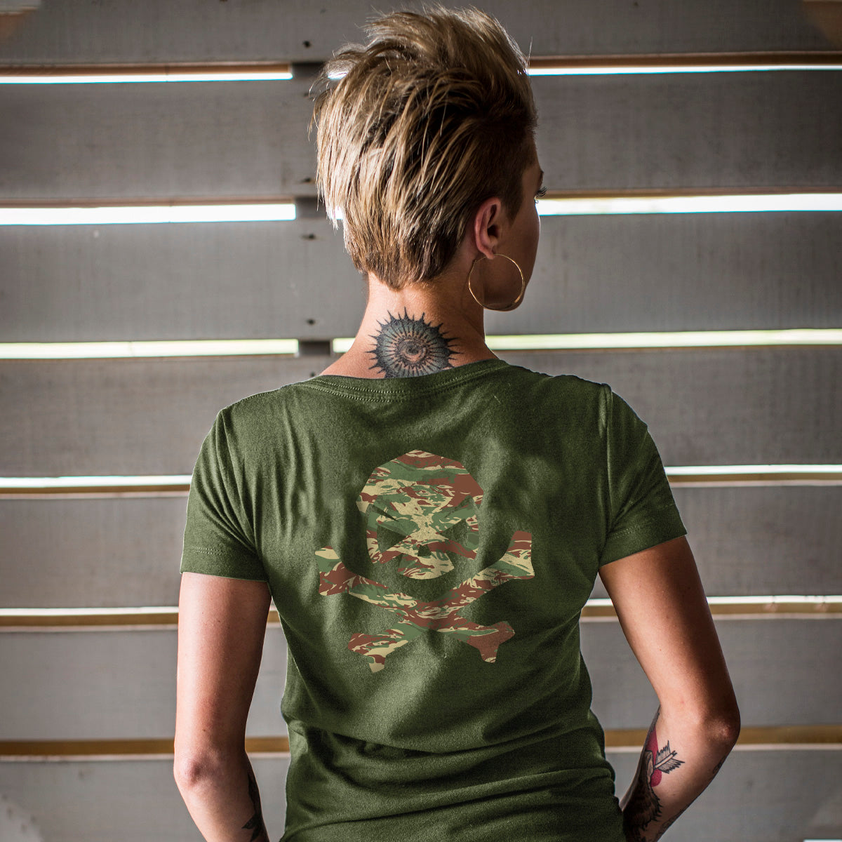 Hitter in the Mist Tee - V-Neck - Military Green/Brushstroke - T-Shirts - Pipe Hitters Union